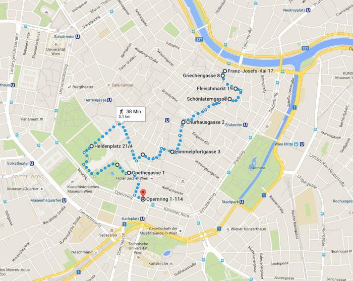 MISSION WIEN – Schnitzeljagd durch den 1. Bezirk Plan
