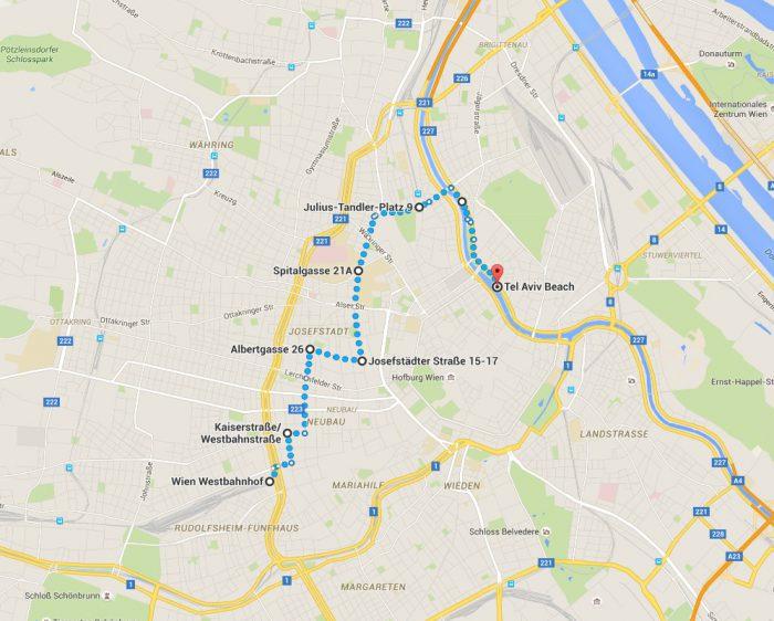Vom Wiener Westbahnhof nach Tel Aviv Plan