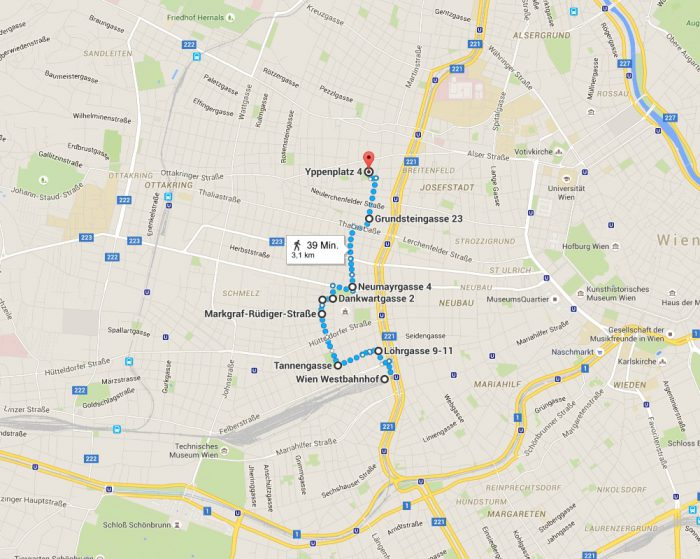 Wien in Bunt, Streckenwanderung vom Westbahnhof bis Yppenplatz über Brunnenmarkt Plan