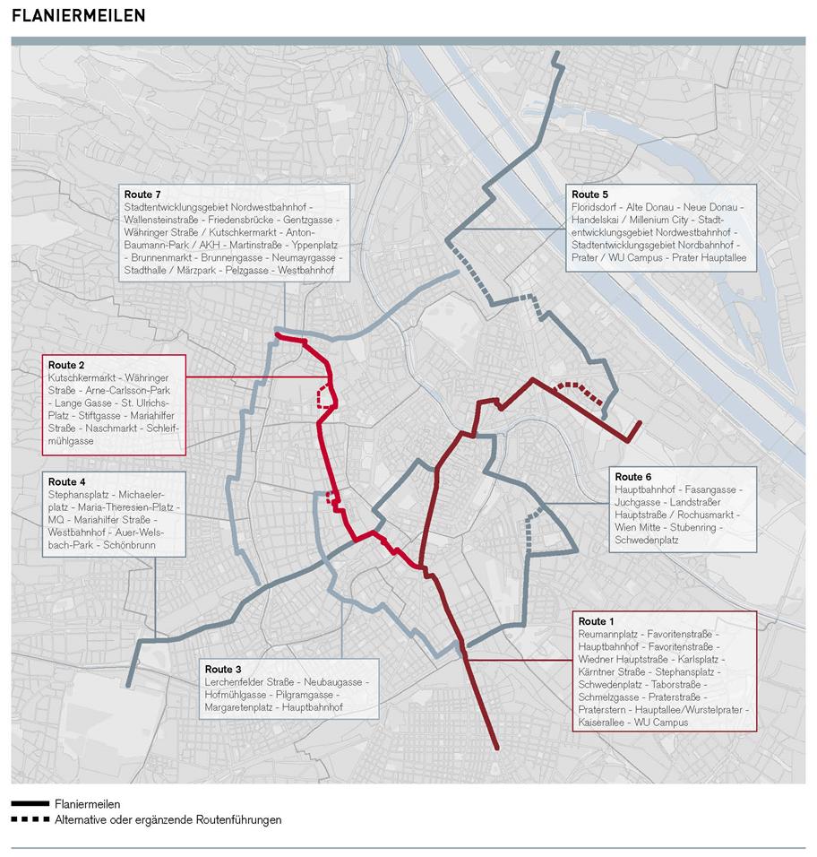 Eine Wienkarte zeigt sieben verschiedene Flaniermeilen in allen Teilen der Stadt an.