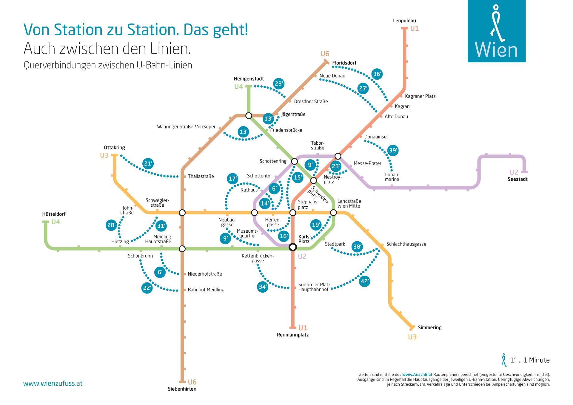 Netzblan der Wiener U-Bahn mit eingezeichneten Gehminuten auf Querverbuindungen zwischen den Linien. Grafik: Johannes Essl