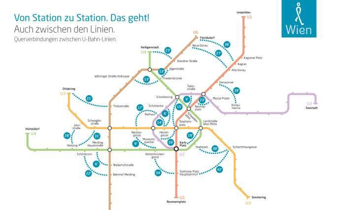 Netzplan der Wiener U-Bahn in den die Gehminuten zwischen U-Bahnstationene, die nicht auf der selben Linie liegen, eingezeichnet sind. Grafik: Johannes Essl