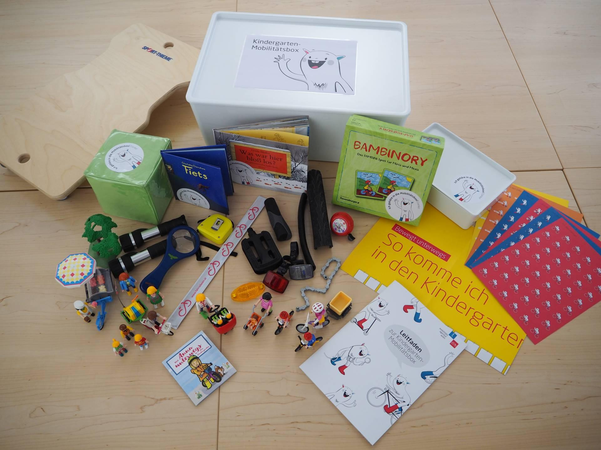 Inhalt der Mobilitäsbox für Kindergärten