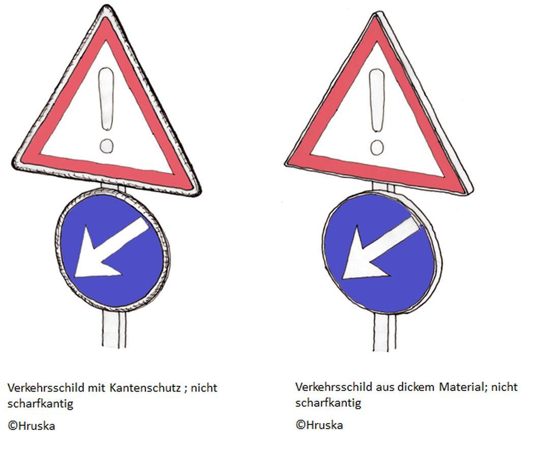 Illustration von Verkehrsschildern, die nicht scharfkantig sind. Illustriert von Bernhard Hruska