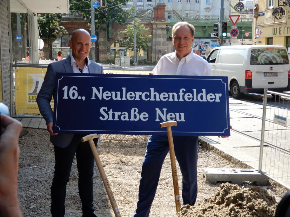 Thomas Keller, Straßenbauchef DI Thomas Keller und Ottakrings Bezirksvorsteher Franz Prokop beim Spatenstich in der Neulerchenfelder Straße.