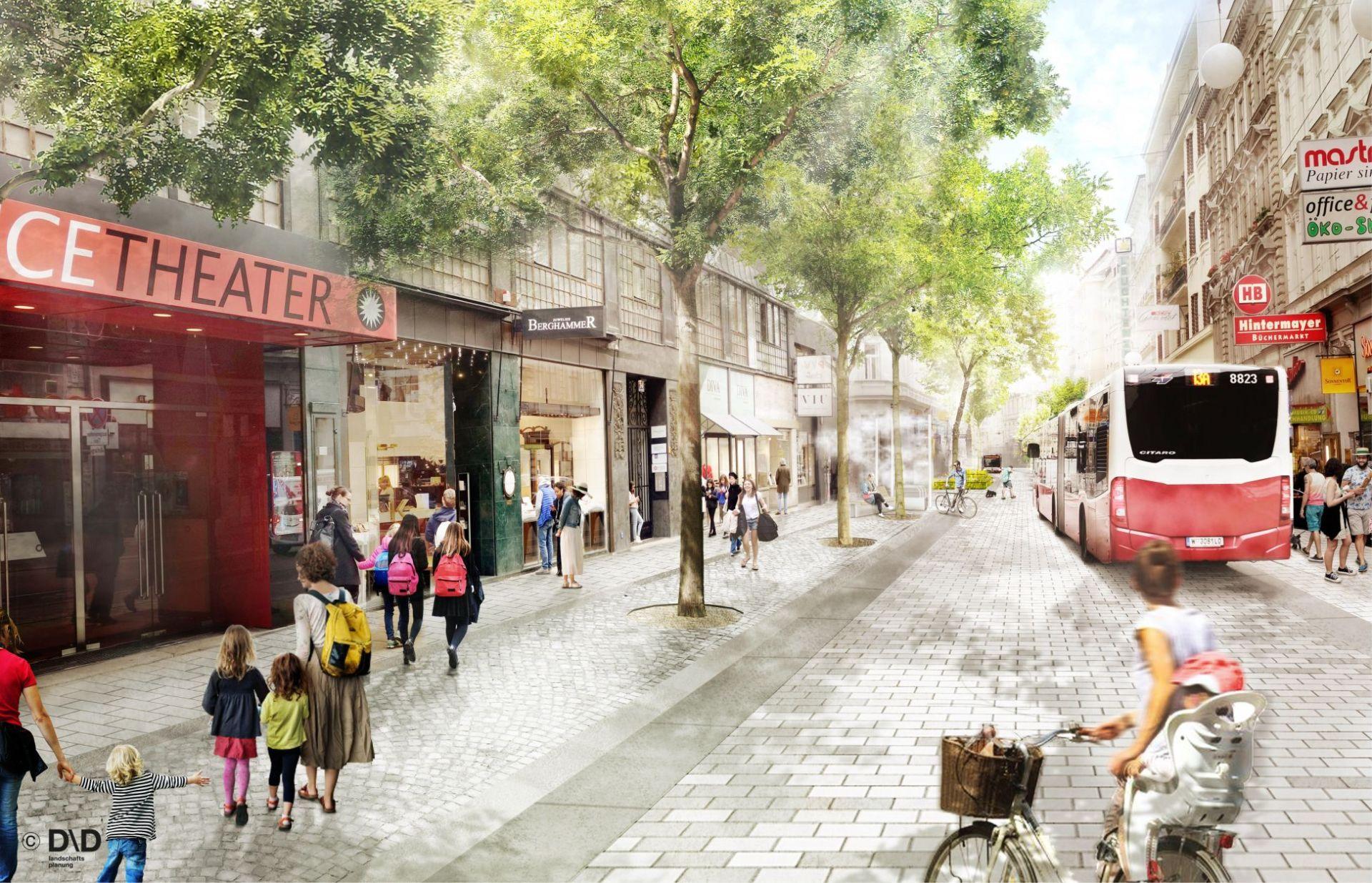 Rendering der neu gestalteten Nedubaugasse. Der Umbau zur Begegnungszone startet am 13. Jänner 2020 und soll im Herbst 2020 abgeschlossen sein.
