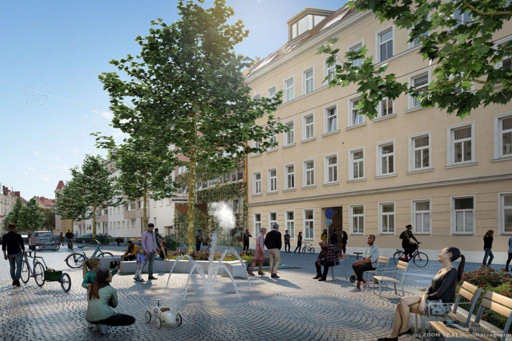 Visualsierung zur Umgestaltung der Goldschlagstraße.