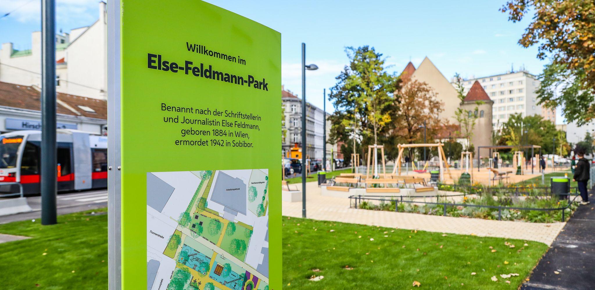 Schild vom Else-Feldmann-Park, © PID/Christian Fürthner