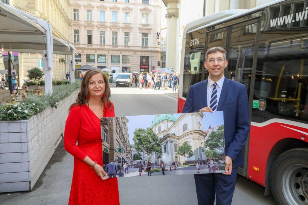 Planungsstadträtin Ulli Sima und Bezirksvorsteher der Inneren Stadt, Markus Figl präsentierten heute die Pläne für die Neugestaltung und Attraktivierung des Petersplatzes.